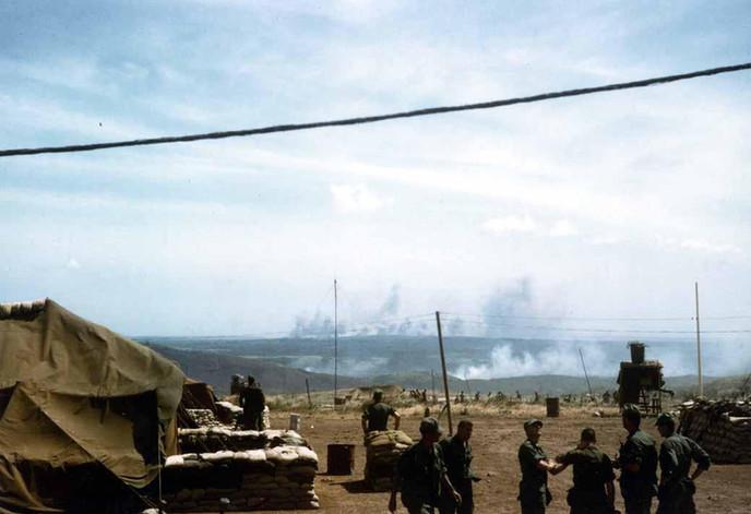 Arc light (B-52) strikes near Con Thien; viewed from camp Carroll; Operation Buffalo; Con Thien, Quang Tri Province near DMZ.   Source: VA031481, David DeChant Collection, The Vietnam Center and Archive, Texas Tech University