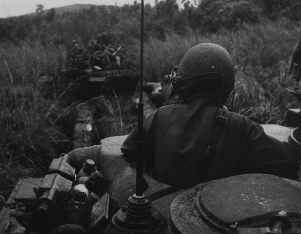 27OCT66. Operation Prairie--Tankers of the 3rd Tank Battalion are shown on patrol near the Rock Pile.  Source: National Archives photo no. 26387377