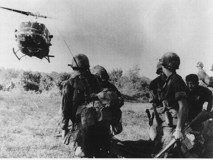 173rd Airborne Brigade troops prepare to evacuate wounded soldiers during Operation Greeley.