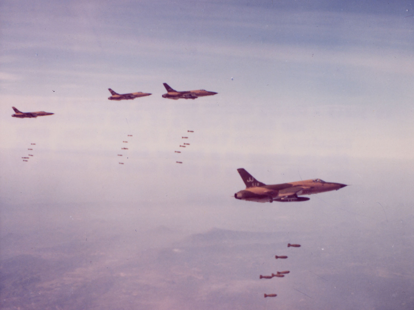 "US Air Force Republic F-105 Thunderchiefs, or ""Thuds,""  on a bombing mission during Operation Rolling Thunder.  Source: US Air Force"