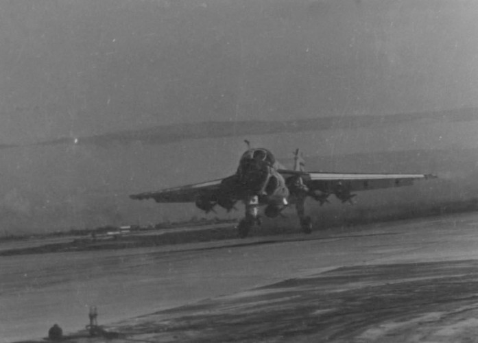 Lift off--An A6-A Intruder, loaded with 2000 pound bombs, lifts off the runway at Marine Corps Air Station, Chu Lai. The attack bomber from Marine All-Weather Attack Squadron-533 is on a support mission in conjunction with Operation Swift, approximately 25 miles south of Da Nang.  Source: National Archives photo no. 26380595