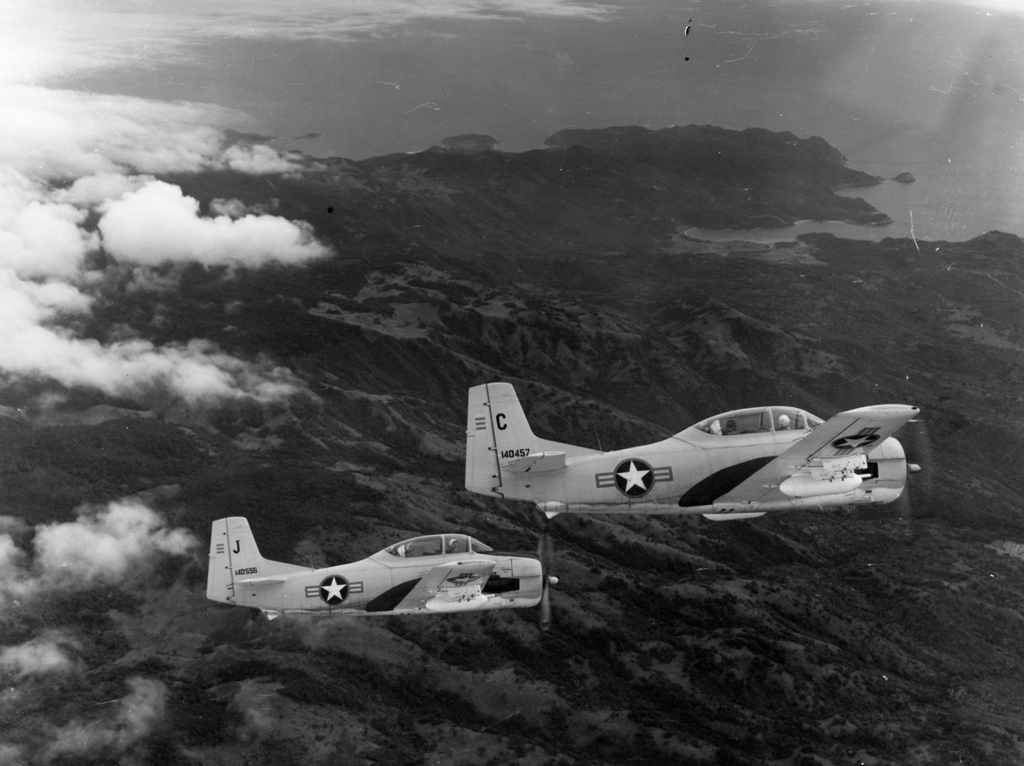 US Air Force-South Vietnamese counterinsurgency training flight with North American T-28 Trojans, 1962.  Source: US Air Force