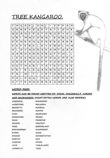 Free Tree Kangaroo Word search download.