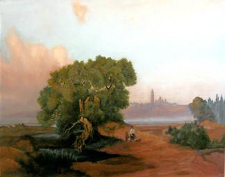 Вид Киева с Днепра на Печерскую лавру
