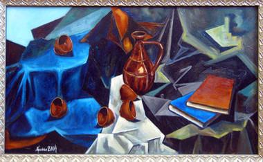 Натюрморт с книгами и глиняной посудой