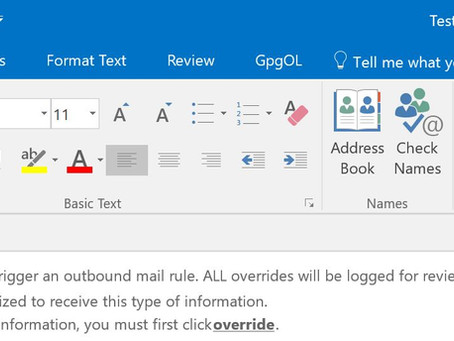Policy Tip appears in OWA but not in Outlook 2013 or 2016