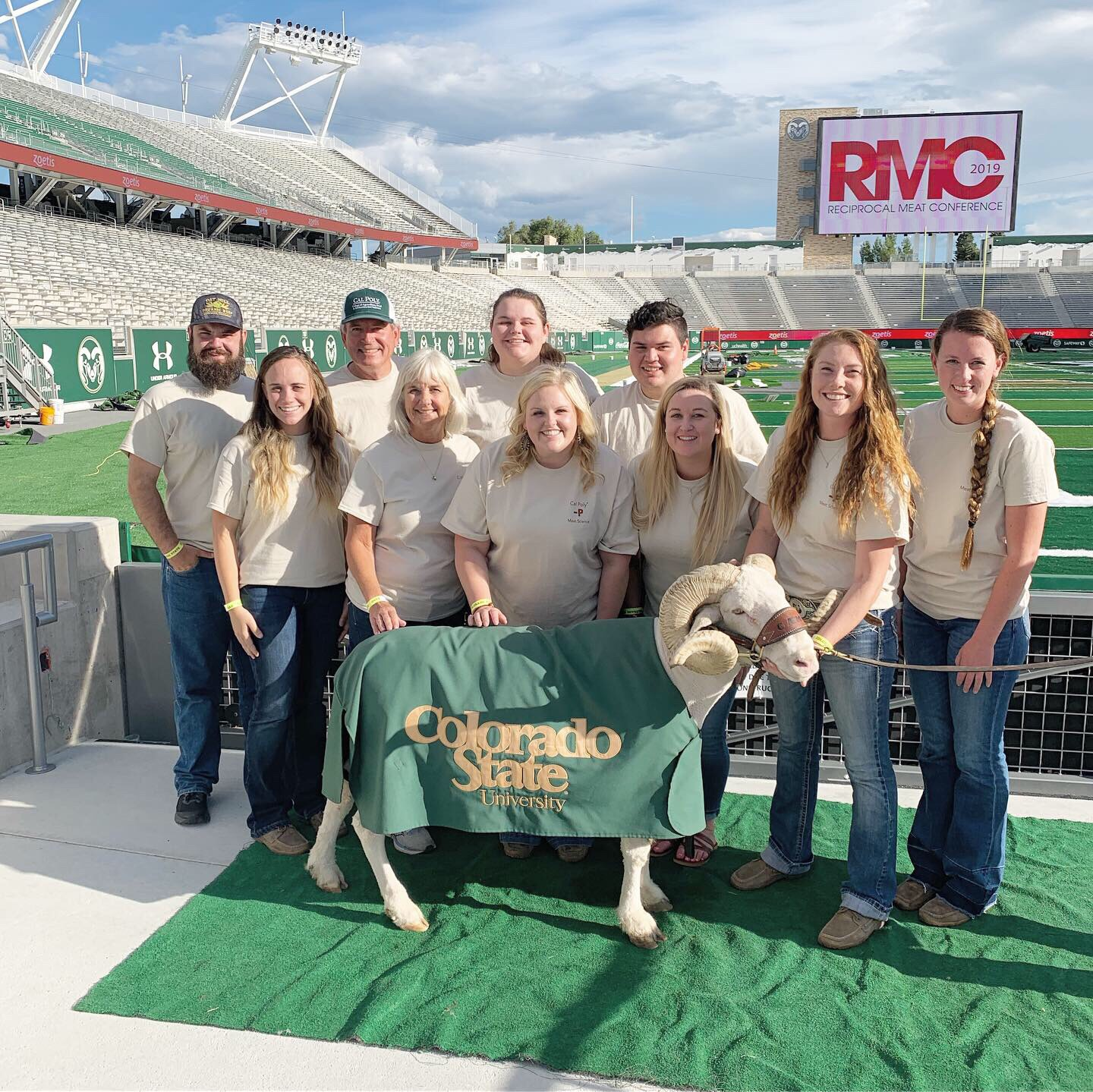 Cal Poly Team meets Cam the Ram at the Family Picnic in CSU's Football Stadium!