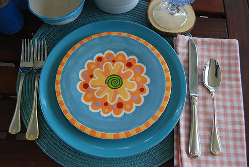 CARNIVAL BLUE DESIGN SALAD PLATE