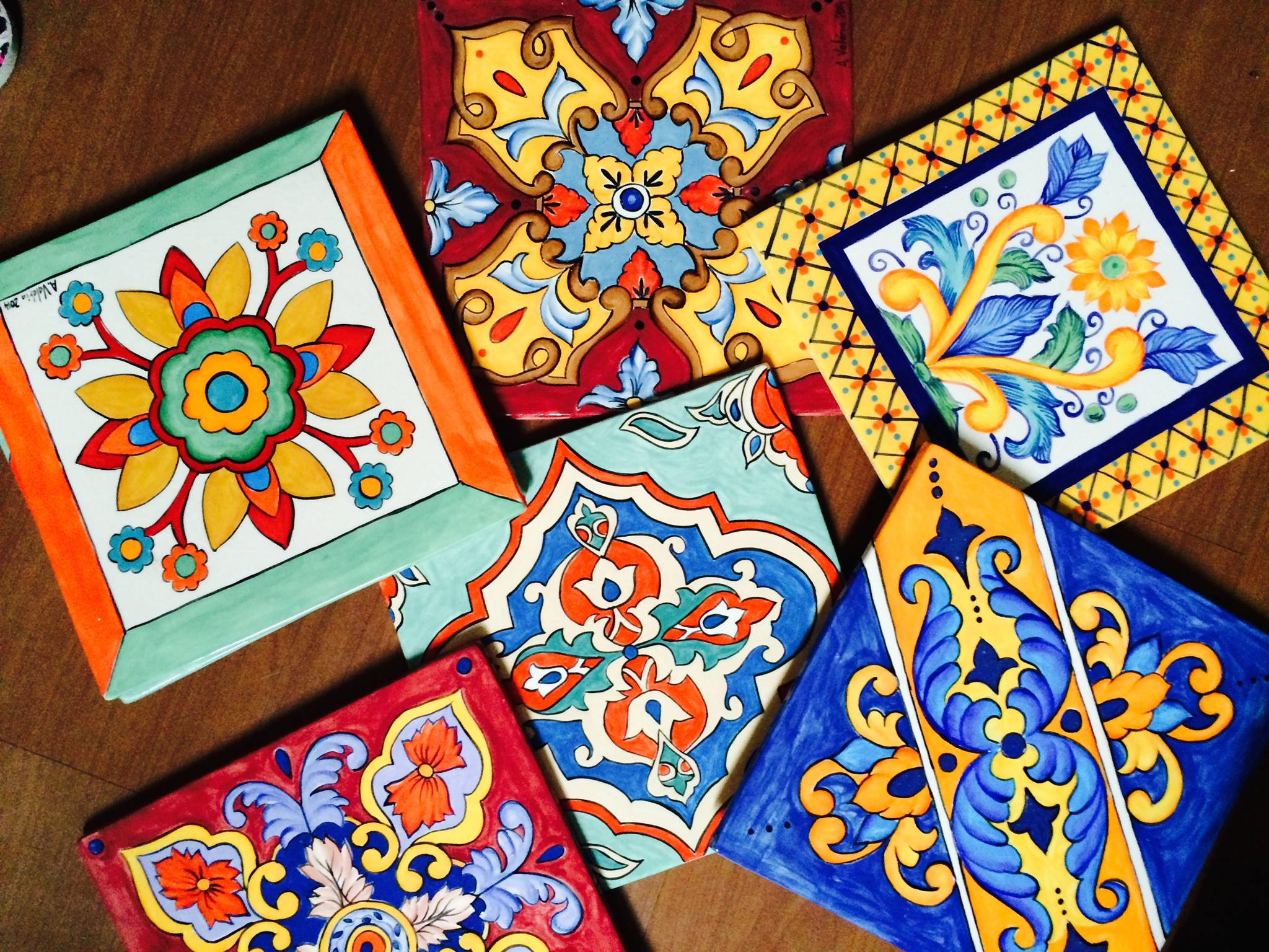 Hand painted tiles by MumGaya