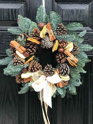 Spruce and Pine Cone Door Wreath