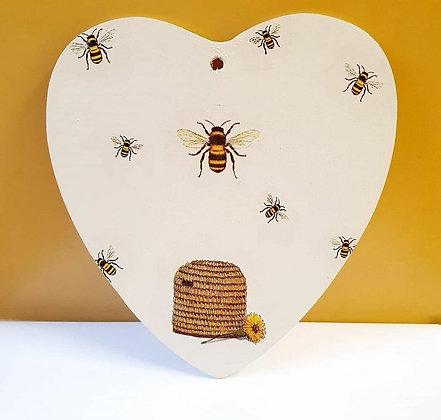 Bee Wooden Hanging Heart