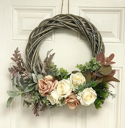 Pink and Cream Grey Welcome Wreath: 3-7 day lead time