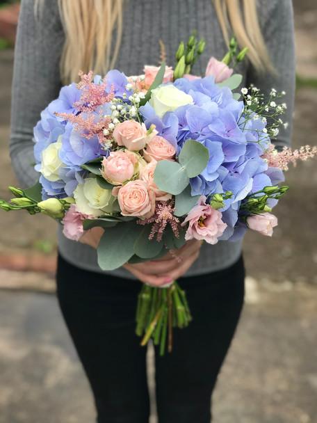 Blue Hydrangea, Pink Spray Rose and white lisianthus Aurora, wedding bouquet