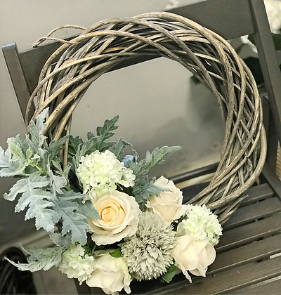Cream Rose Grey Washed Wicker Wreath: 3-7 day lead time