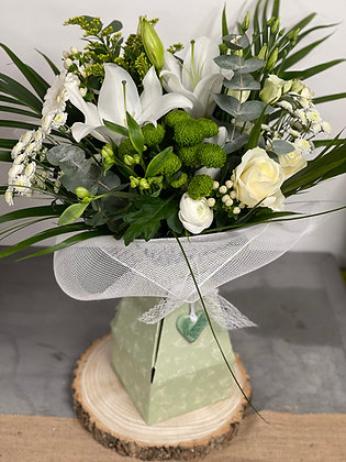 Hand tied White bouquet in boxed Vase