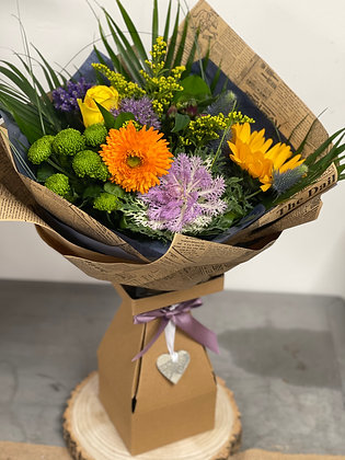 Hand Tied Bright Bouquet in Boxed Vase