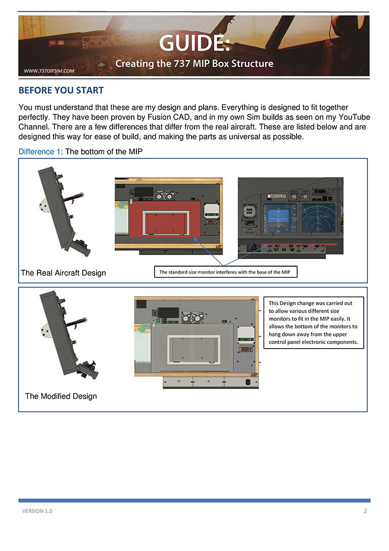 why is 737DIYSIM plans different from the real aircraft