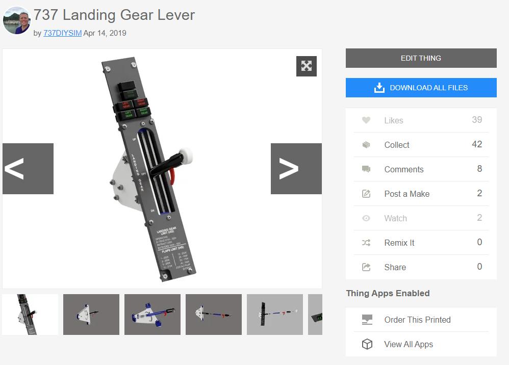 737 Landing Gear Lever design for 3d Printing