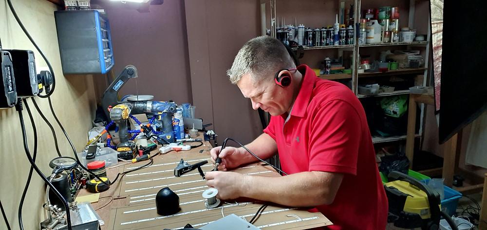 Karl from 737DIYSIM soldering the 12v LED strip lighting