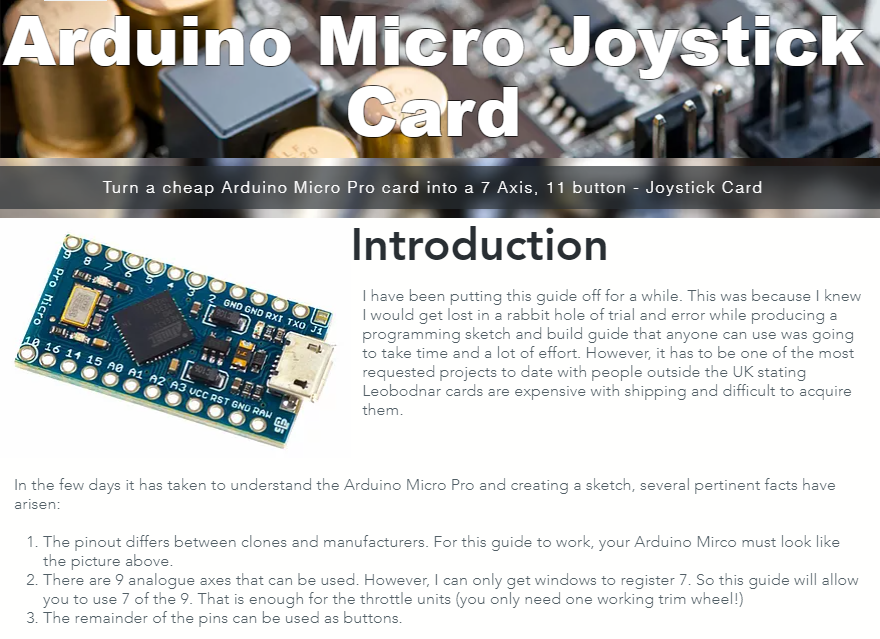 Turning an Arduino Micro Pro into a USB Joystick Card