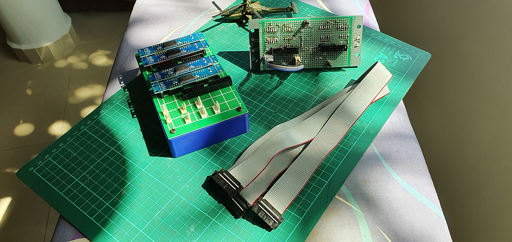 The complete setup, Arduino to patch panel, ribbon cable to 737 VHF Radio