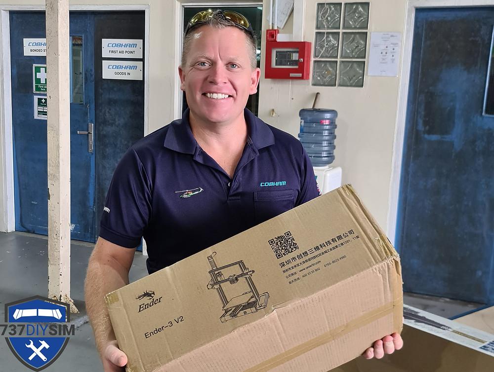 737DIYSIM receives his Ender 3 v2 3D printer