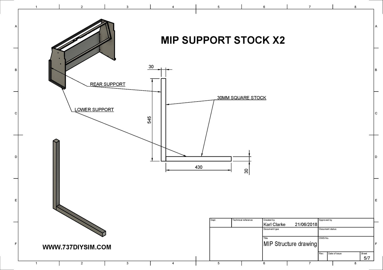 Boeing 737 MIP Support Dimensions