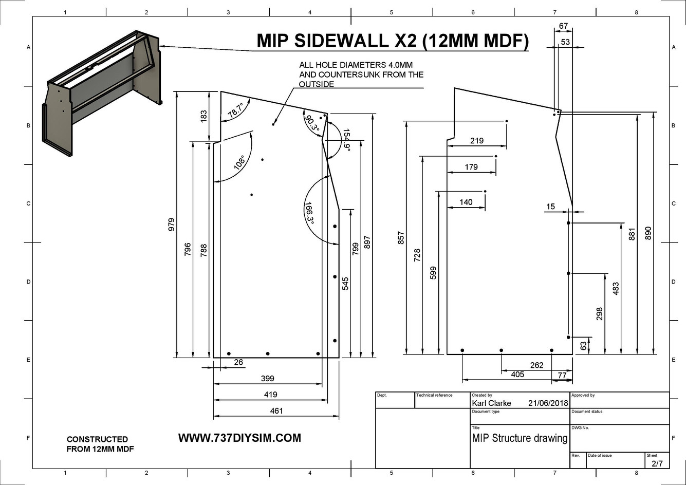 Boeing 737 MIP Structure Dimensions