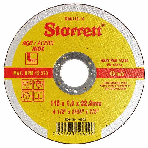 Disco Abrasivo de Corte 115 x 1,0 x 22,2 Starrett