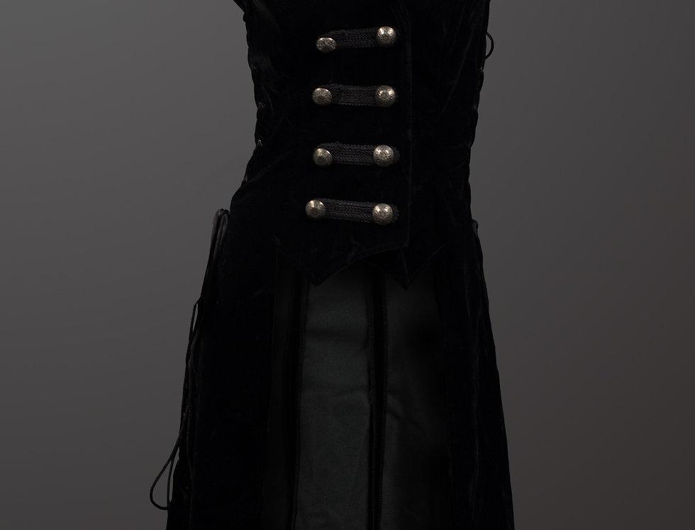 Black Velvet Vest With Hood
