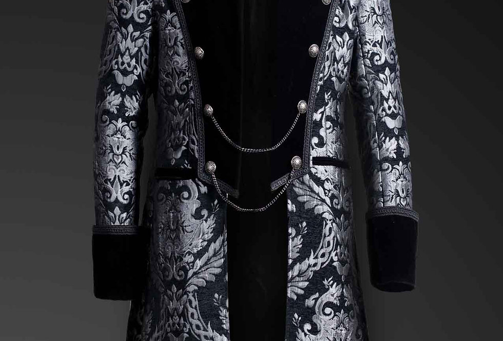 Aristocratic Gothic Steampunk Silver Brocade Double Breasted Mid-length Coat