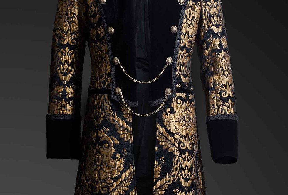 Aristocratic Gothic Steampunk Gold Brocade Double Breasted Mid-length Coat