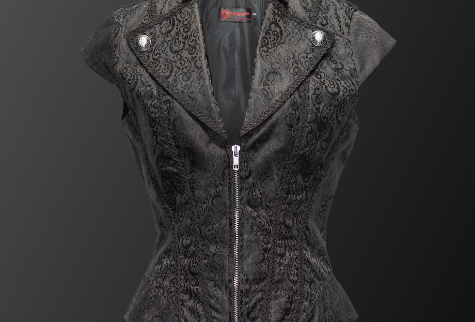 Elegant Brocade Pattern Fabric Sleeveless Gothic Steampunk vest