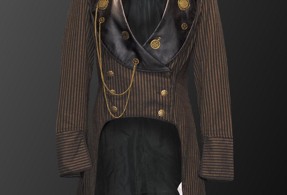 Lightweight Black Vertical stripe on Brown Cotton Fabric Steampunk Coat