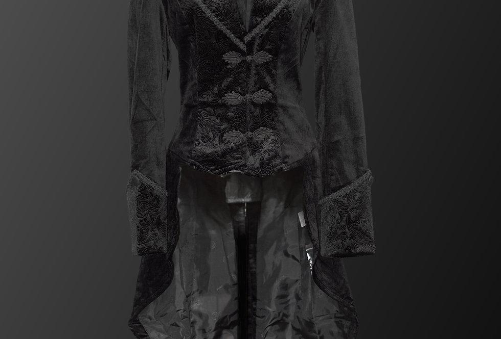 Elegant Women's Formal Gothic Steampunk Velvet Tailcoat