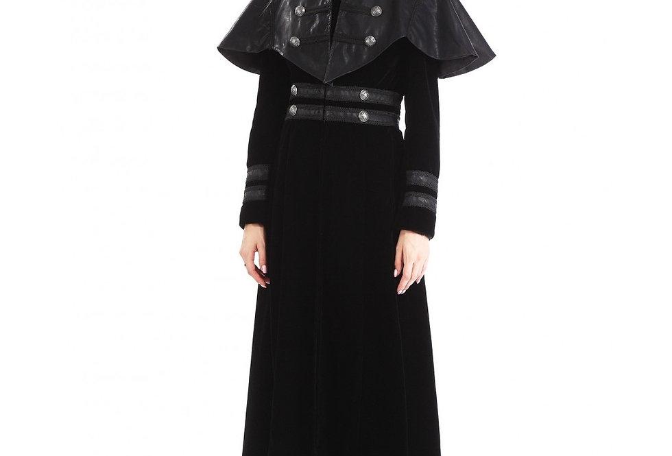 Elegant Victorian gothic black velvet full-length coat