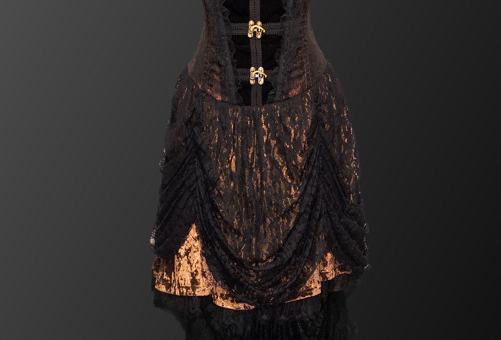 Stunning Cascading Lace Victorian Steampunk Corset Dress