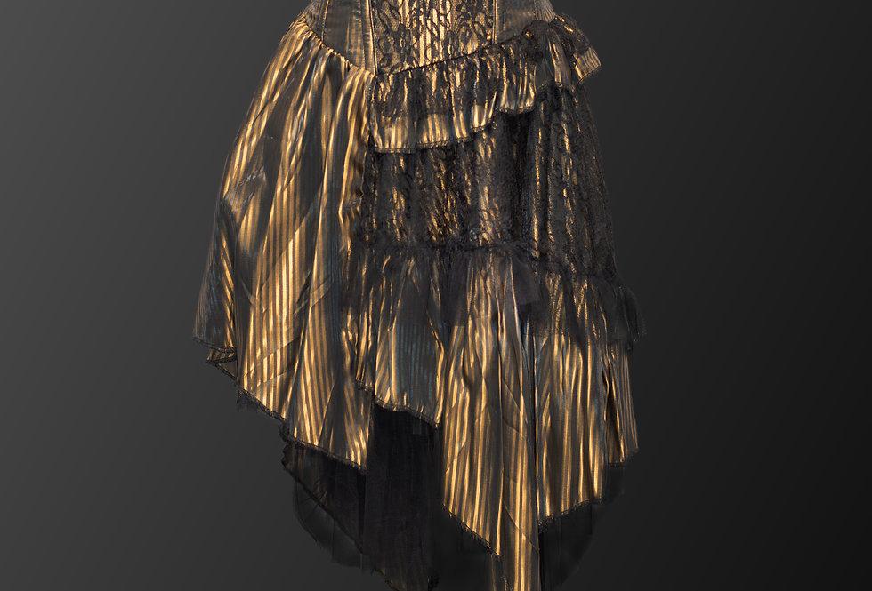 Gorgeous Steampunk Gothic Black Striped Cotton Corset Skirt