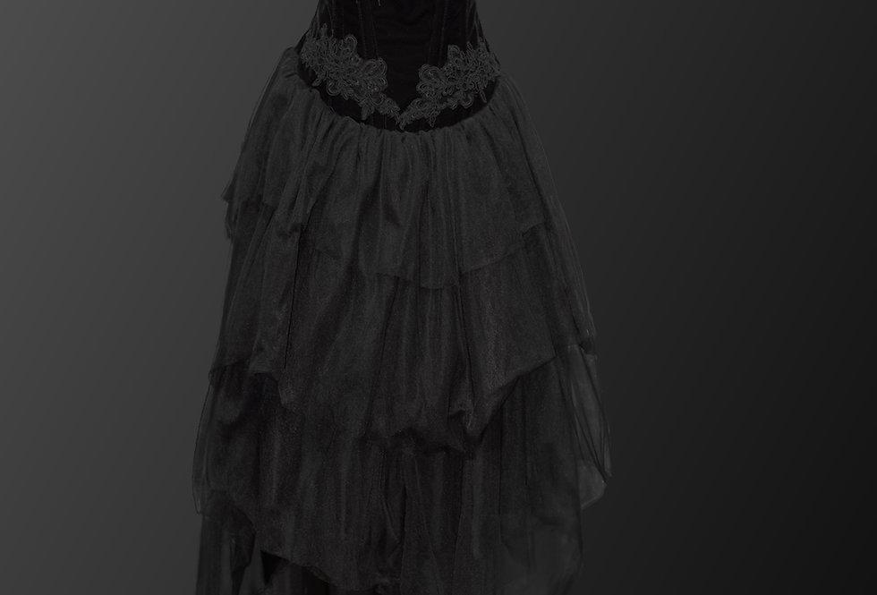 Gorgeous Black Velvet Cascading Lace Gothic Dress