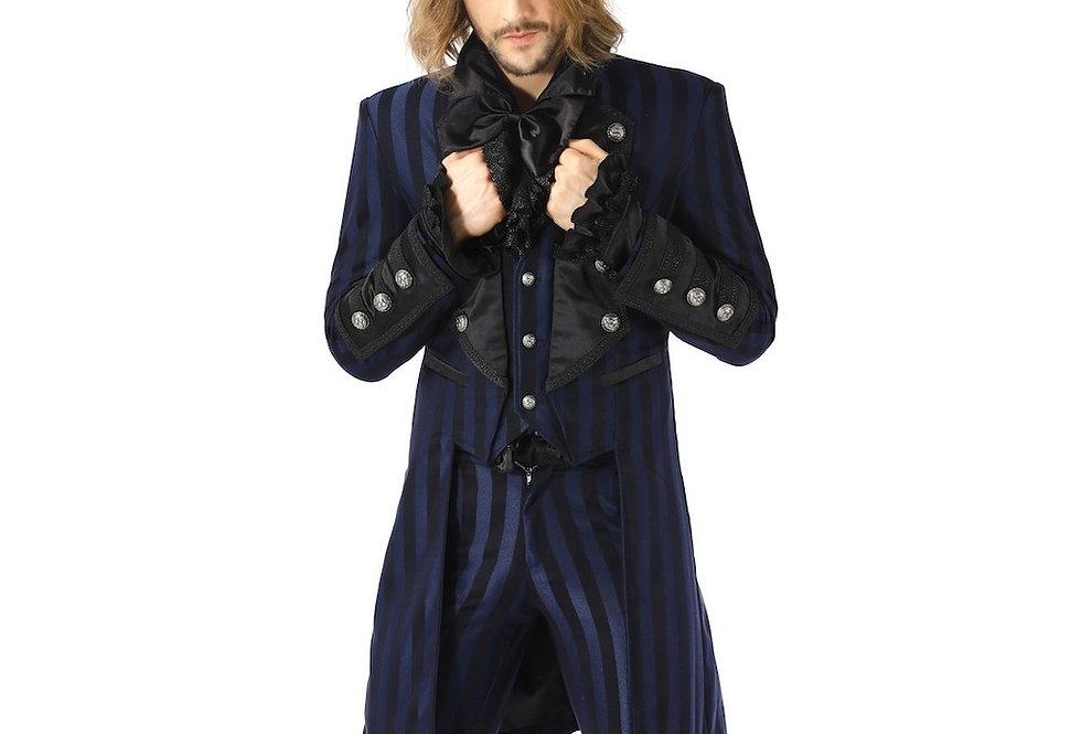 Elegant black and navy blue stripe steampunk coat