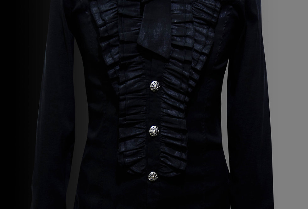 Tiered Pleated Collar Gothic Men's Shirt