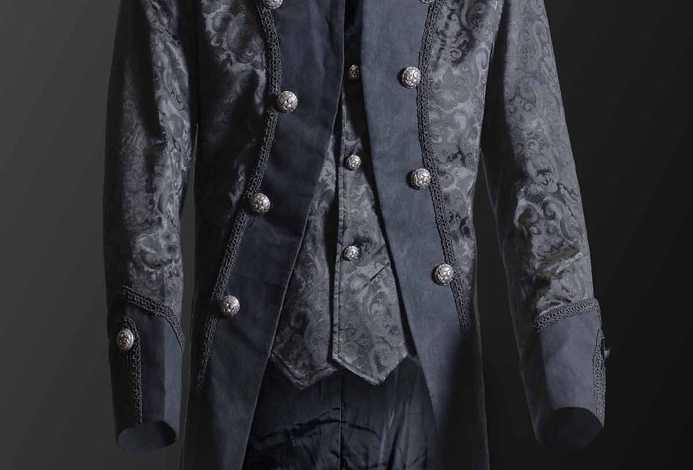 Black Brocade Pattern Jacket With Built-in Waistcoat