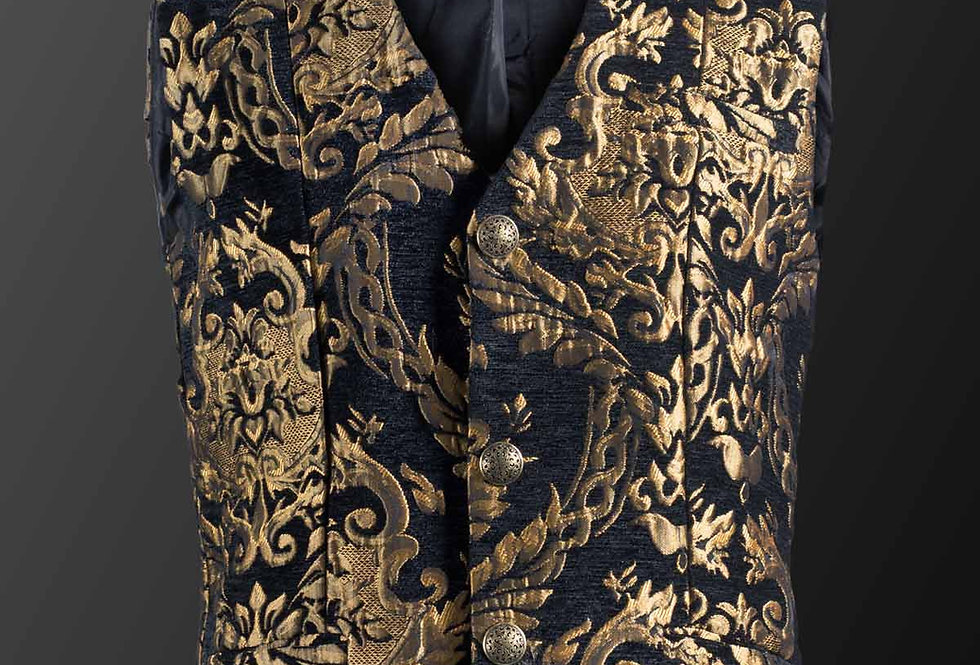Royal Court Brocade Waistcoat in Black & Gold