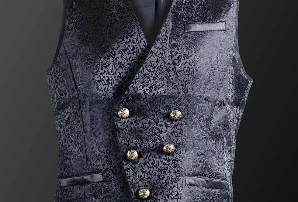 Black Satin Brocade Patterned Gothic Victorian Waistcoat