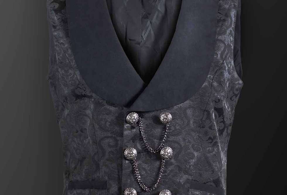 Black Brocade Pattern Gothic Waistcoat With Chain Details