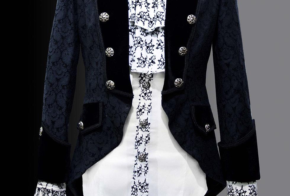 Black Brocade Gothic Dovetail Coat