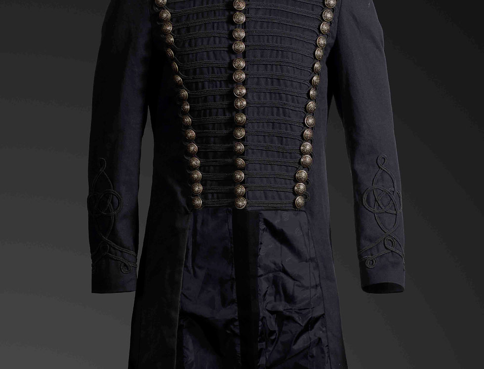 Gothic Steampunk Men's Upscale Black Braided Military Tailcoat