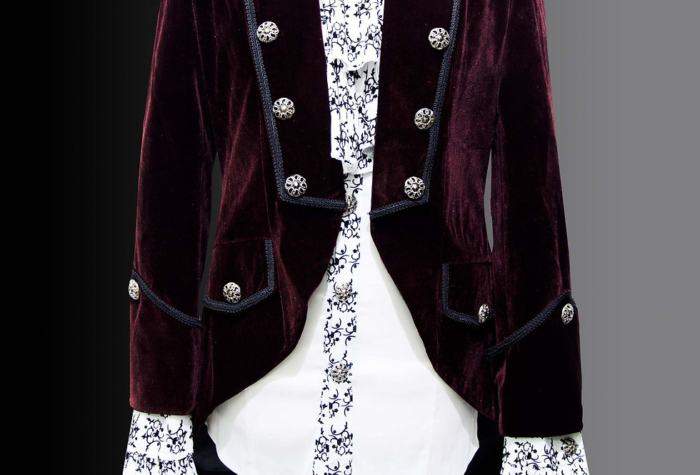 Burgundy Red Velvet Gothic Swallowtail Coat