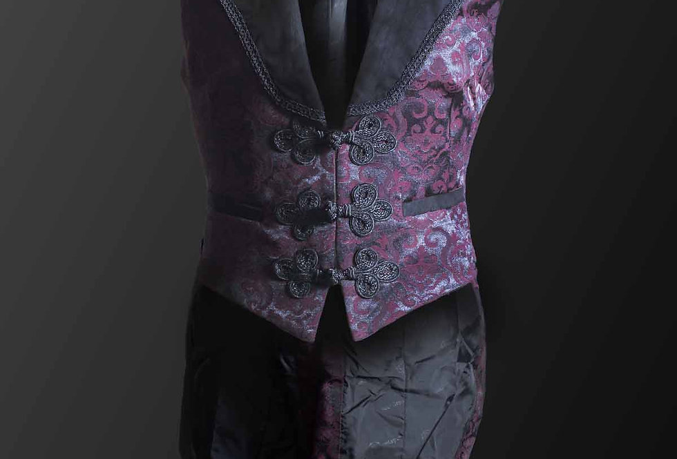 Long Red Brocade Pattern Waistcoat With Oriental Knot Closure