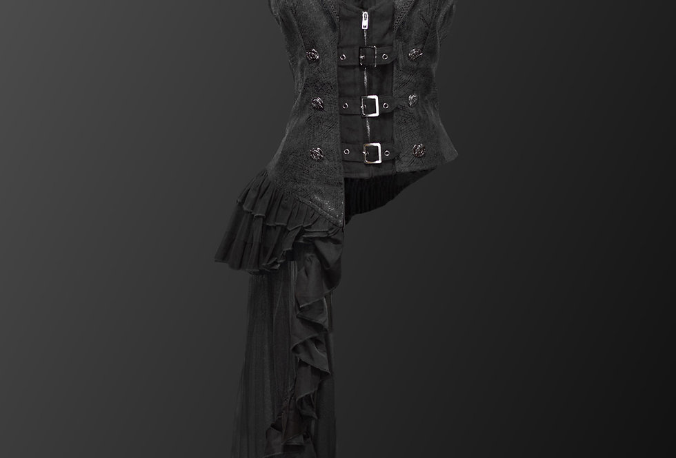 Gothic Steampunk Vest with One Sided Overskirts